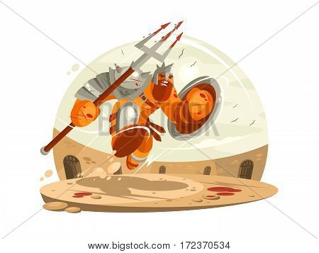 Gladiator in armor with shield and battle in arena. Vector illustration