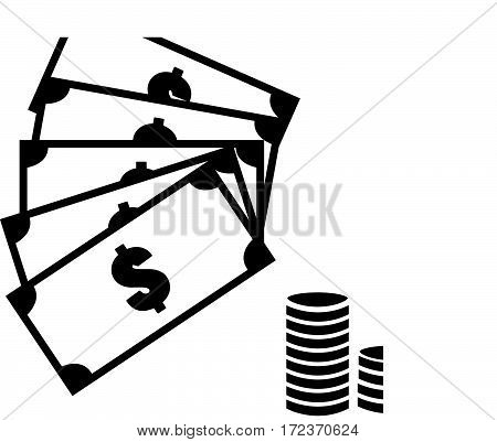 cash icon on white background. money and coins sign.