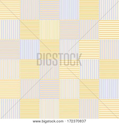 Striped squares simple patchwork blanket seamless pattern in yellow and blue, vector background