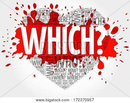 WHICH? Question heart Questions words concept background