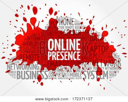 Online Presence word cloud collage, technology business concept background