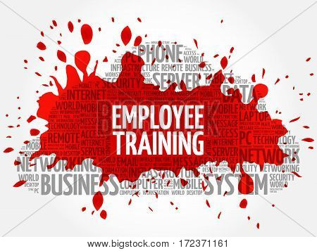 Employee Training word cloud collage, technology business concept background