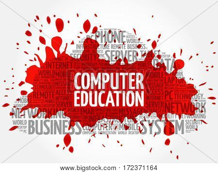 Computer Education word cloud collage, technology business concept background