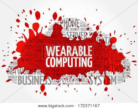 Wearable Computing word cloud collage, technology business concept background