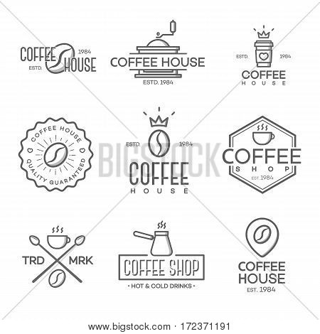 Set of coffee shop logo isolated on white background. Vector design elements, business signs, logos, identity, labels, badges and other branding objects for your business. Vector illustration.