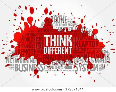 Think Different word cloud collage, technology business concept background