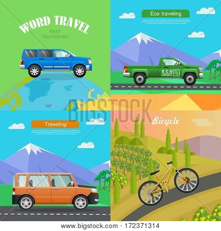 Transport. Collection of Four Auto Pictures. Blue car on planet. Green pickup on road near mountains. Orange big automobile on road to hills. Sports bike riding up path. Simple cartoon style. Vector