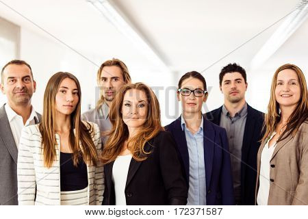 small business team posing for a group shot in their office