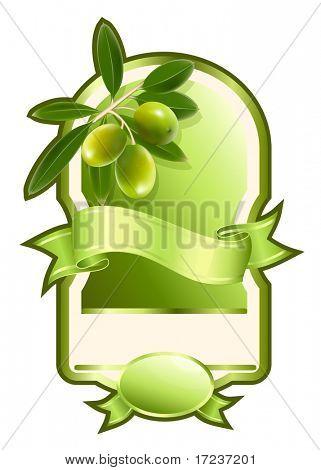Vector illustration. Label for product. Olive oil.
