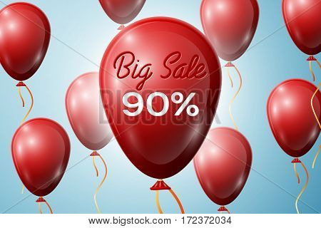 Red Balloons with an inscription Big Sale ninety percent Discounts. SALE concept for shops store market, web and other commerce. Vector illustration.