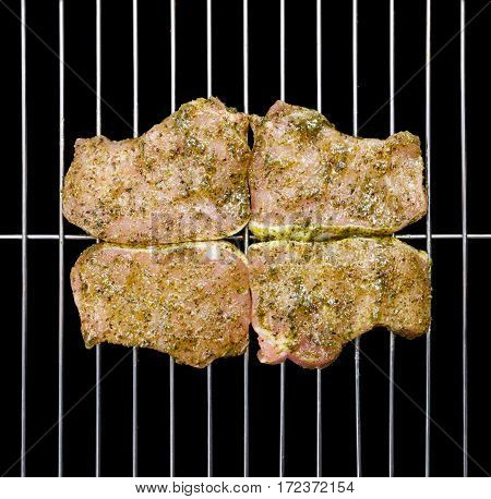 Marinated Pork Loin Steak On Barbecue Grid