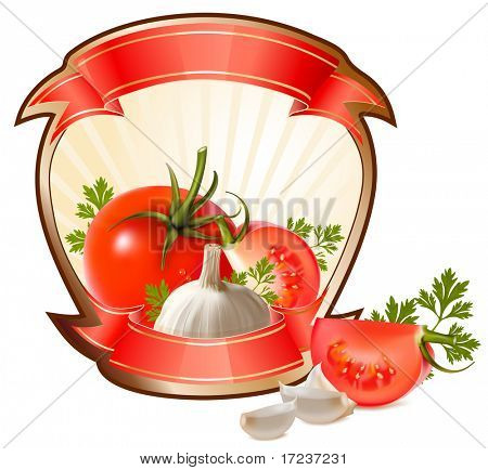 Label for a product (ketchup, sauce) with photo-realistic vector illustration of vegetables.