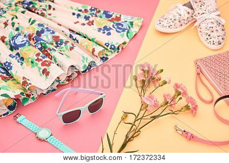 Fashion Summer girl clothes Set, Accessories. Hipster Outfit. Stylish Floral Dress, Trendy fashion Sunglasses, flowers. Glamor Gumshoes. Summer lady Essentials. Creative Design. Fashion Urban Concept
