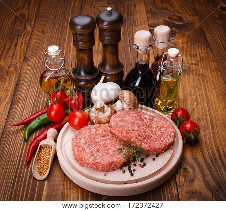 Uncooked Hamburger Meat With Spices