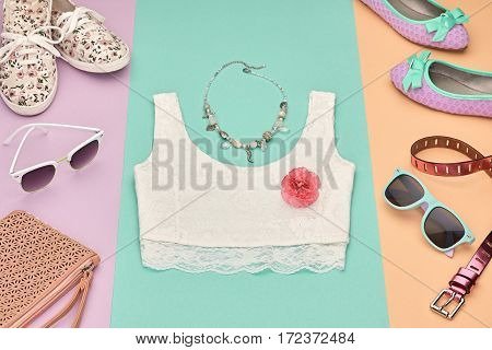 Summer Hipster style.Design Spring Fashion girl Clothes set, Accessories.Outfit.Trendy sunglasses, floral Gumshoes.Summer hipster top, fashion watch, spring flower.Summer Urban woman Look.Perspective