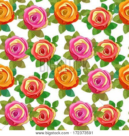 Seamless Pattern Flower Rose With Leaves. Vector Illustration