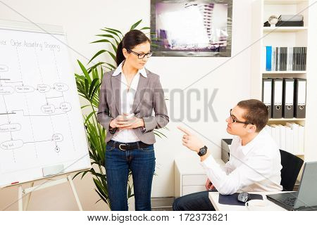 team of IT specialists discussing a UML diagram