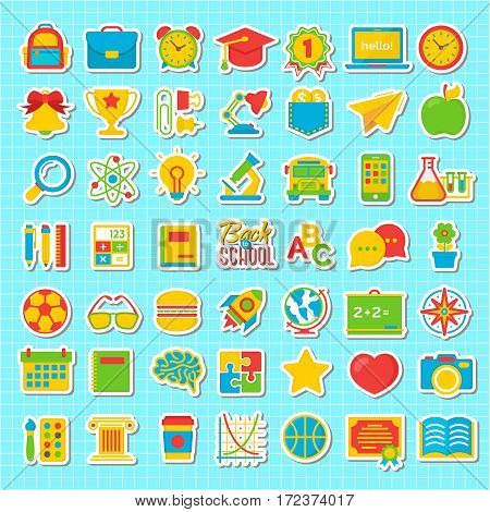 Set of back to school and education colot flat icons school supplies isolated on checkered background. Back To School Background. Back to school super shopping. Super sale. Vector illustration.