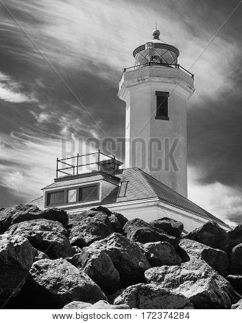 Point Wilson Lighthouse in Washington State. Black and White