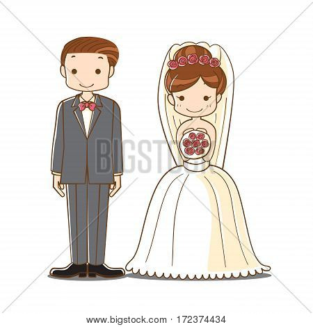 wedding couple cartoon, cute bride and groom newlyweds character, vector illustration