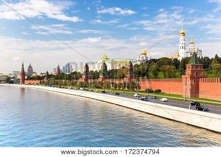 Kremlyovskaya embankment in Moscow on sunny day