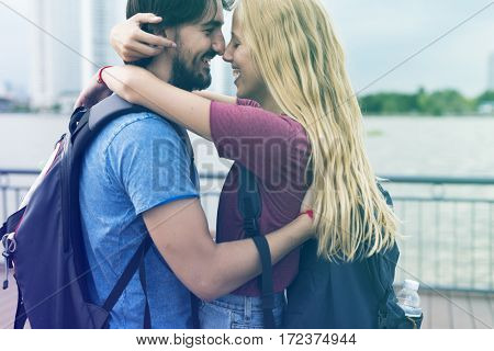 Photo Gradient Style with Couple staring at each other city background