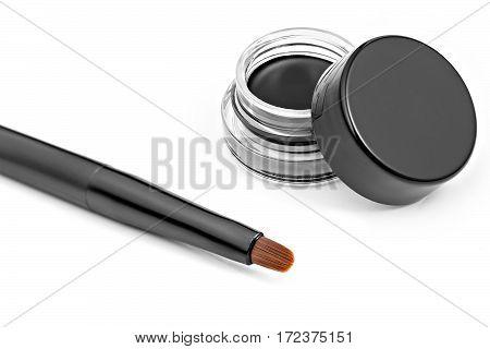 Eyeliner, eye contour brush, isolated white background
