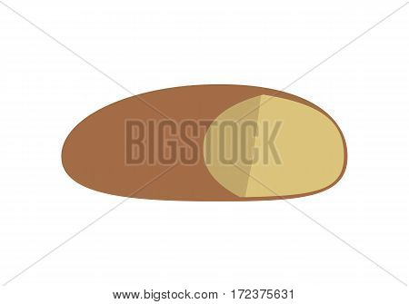Loaf of bread vector in flat style design. Cake or bun with sliced part for baking concepts, bakery logotypes, food and healthy nutrition illustrating. Isolated on white background.