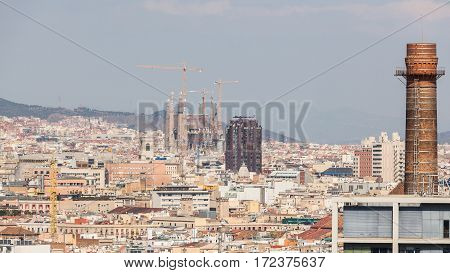 Panoramic View of Barcelona and the Sagrada Familia