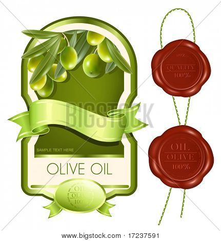 Vector illustration. Label for product. Olive oil.