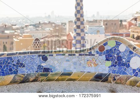 Barcelona, Spain - February 26: Detail In Park Guell On February 26, 2013 In Barcelona, Spain. This