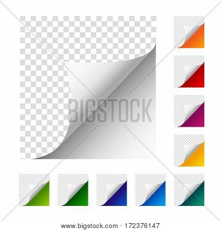 Collection of vector paper corners. Set of colorful paper sheets. White orange red violet yellow green blue dark blue turquoise light green paper curled paper.