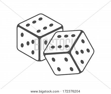 Dice vector in monochrome, black. Traditional instrument for street cheaters. Illustration for gambling industry, sport lottery services, icons, web pages, logo design. Isolated on white background.