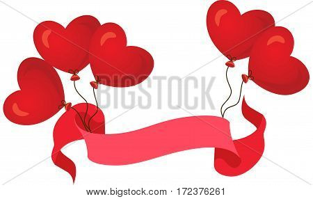 Scalable vectorial image representing a red banner ribbon with balloons in form of heart, isolated on white.