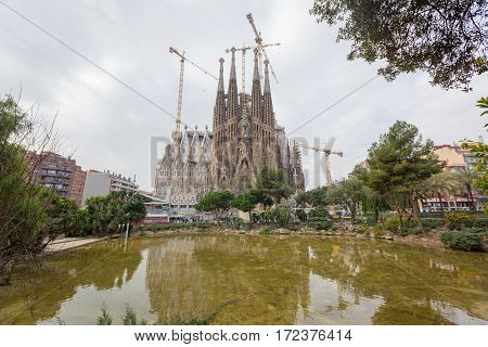 Barcelona, Spain - February 27: Sagrada Familia On A Sunny Day On February 27, 2013 In Barcelona, Sp
