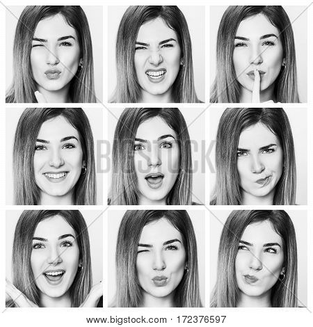 Multiple collage of beautiful young woman with different expressions. Isolated on white