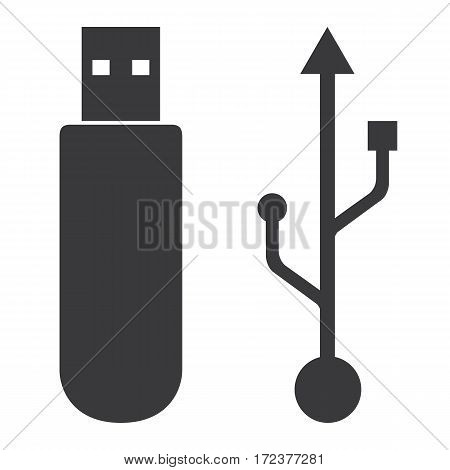 Flash drive usb memory icon on white background.
