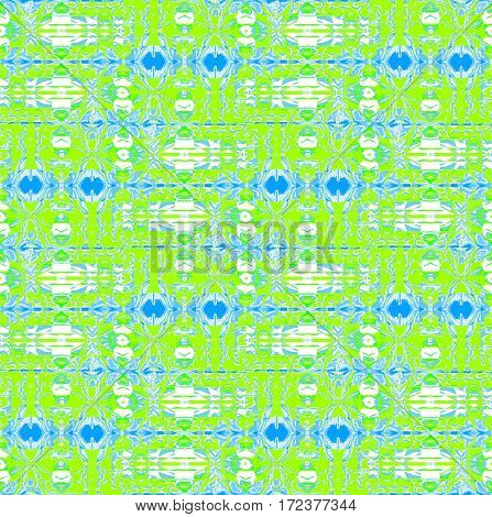 Abstract geometric seamless background horizontally. Regular intricate pattern lemon lime green, light blue, azure and white.