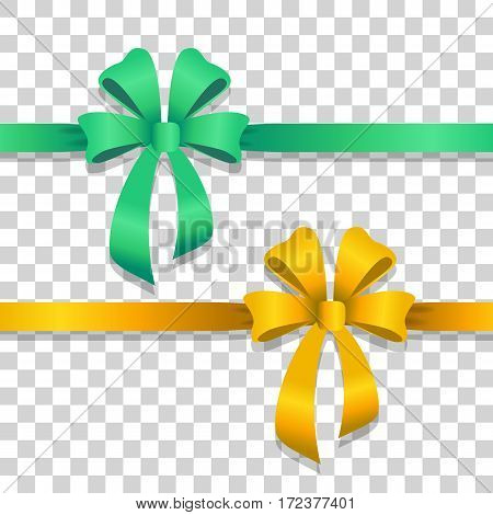 Two ribbons with bows on transparent background. Green and yellow narrow long lines with bright bows. Two bobs with four wide petals, with short tails in cartoon design. Front view. Flat style. Vector