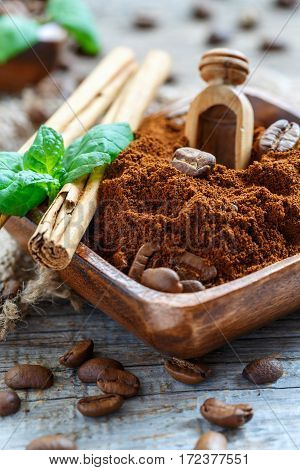 Bowl With Natural Ground Coffee And Cinnamon.