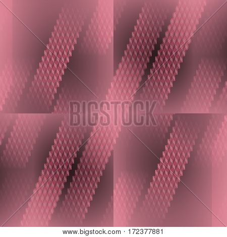 Abstract geometric seamless background dimensional and blurred. Regular diamond pattern in pale red and gray shades in squares diagonally.
