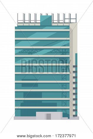 Unfinished building icon. Skyscraper. Floors with glass. Rows and columns of metal scaffolding over rectangular windows on building outdoors. Cartoon style. Modern architecture. Vector illustration