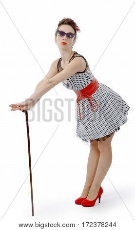 beautiful woman dressed in pin-up style on white background