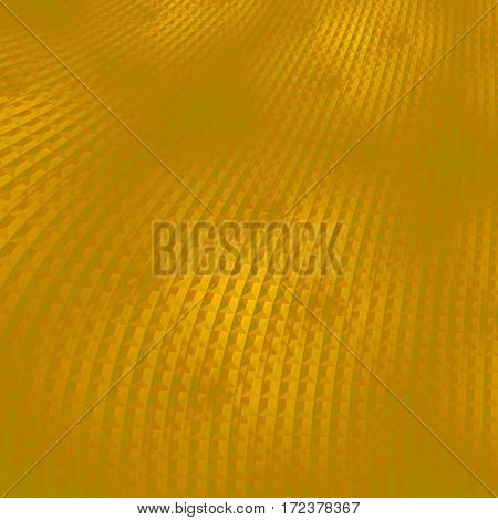 Abstract geometric background single color. Regular curved waffle-weave pattern in yellow and golden shades diagonal and blurred.