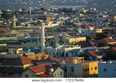 Aerial view to Hargeisa biggest city of Somaliland Somalia