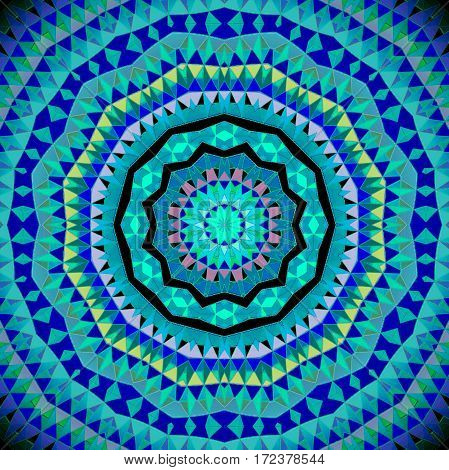 Abstract geometric seamless background. Regular concentric circle ornament turquoise and purple, ornate and extensive.
