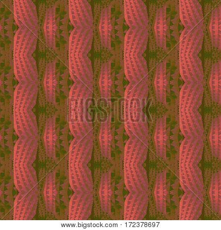 Abstract geometric seamless background. Regular waved pattern, stripes in pastel red and violet shades with gold and dark green vertically.