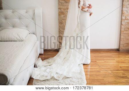 White female wedding dress. Bride in wedding gown. Women's style