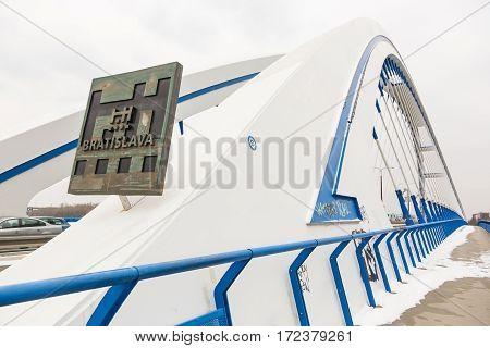 Apollo Bridge over Danube in Bratislava in winter