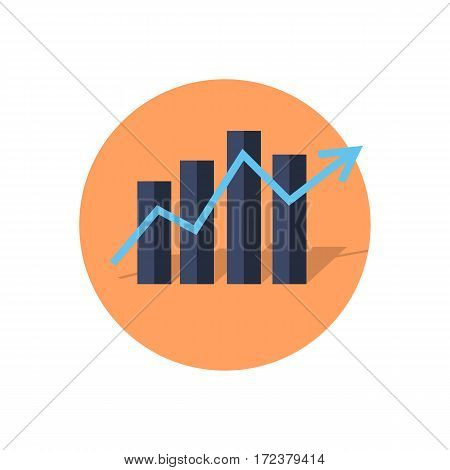 Bar or column graphs diagram with rising arrow isolated on white background. Editable items in flat style for your web design. Part of series of accessories for work in office. Vector illustrationn